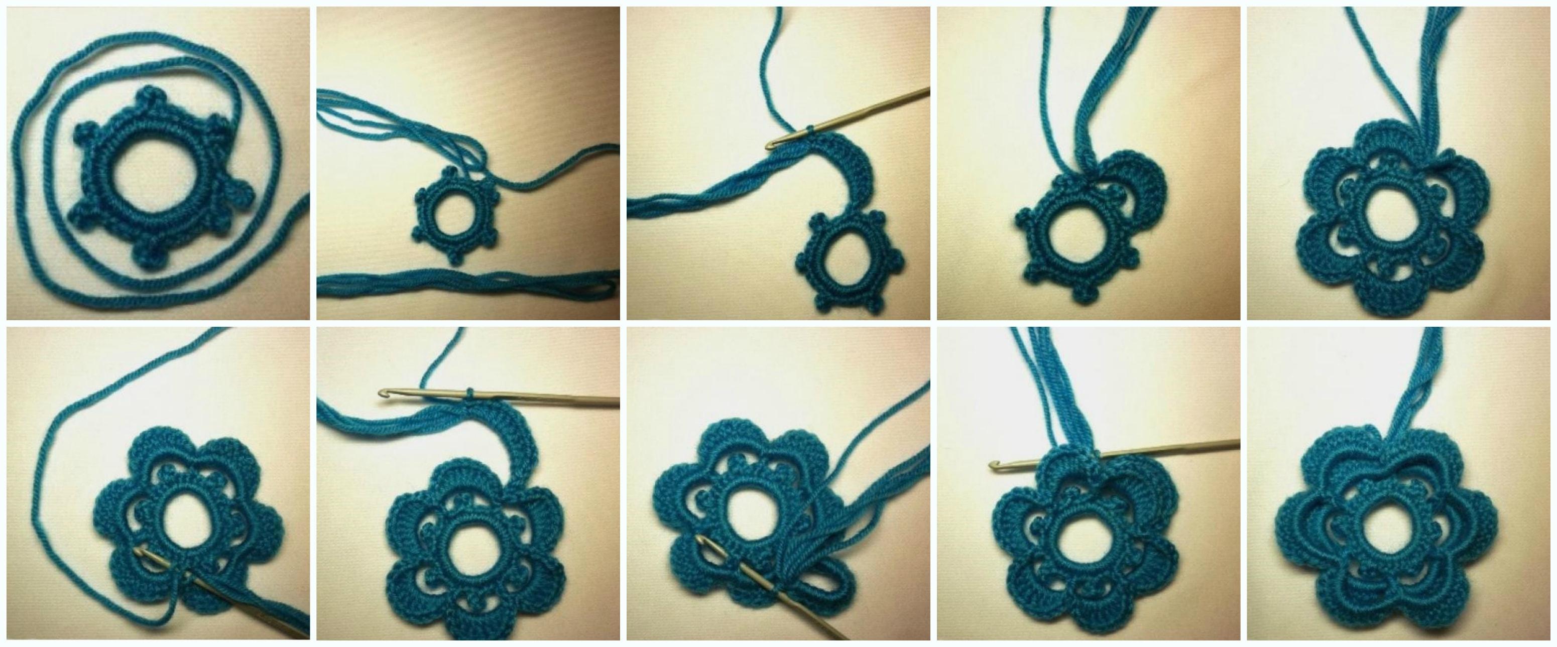 Ирландское вязание цветка на бурдонах