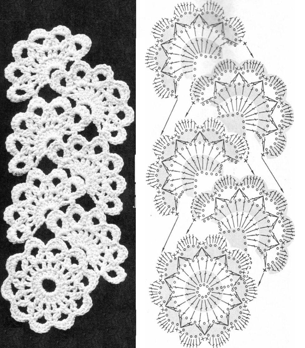 Ажурное вязание ленточное кружево 668