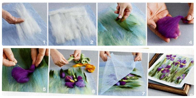 Картины шерстью - техника валяния для начинающих